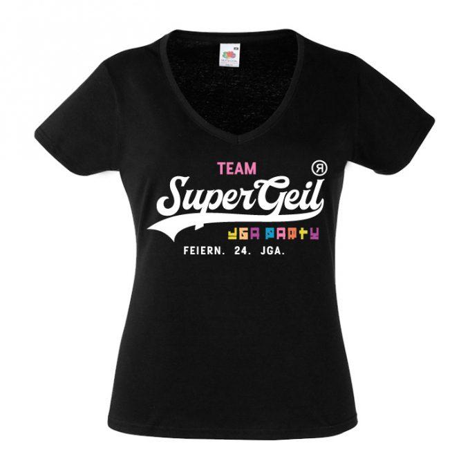Junggesellinnenabschied shirts Supergeil Team schwarz