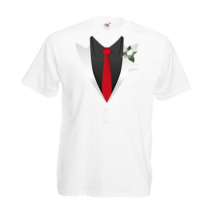 JGA Shirt rote Krawatte